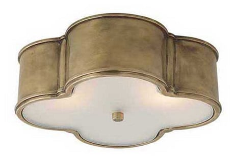 raw brass flush mount light fixture