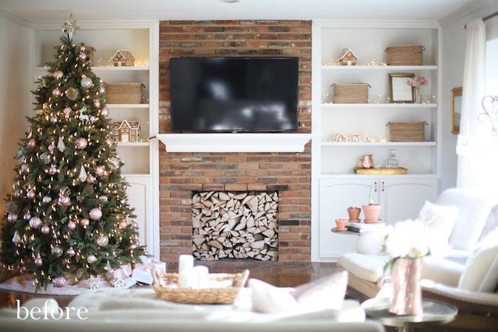 how to update a dated brick fireplace with a new mantel