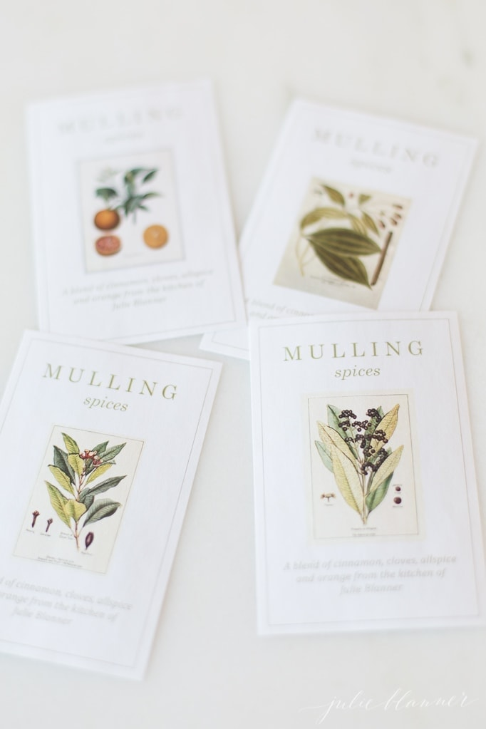 free printable gift labels for mulling spices placed on a marble surface
