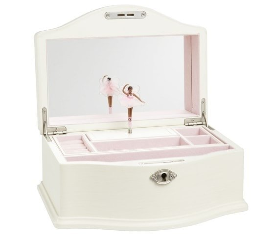 small white girls jewelry box with ballerina