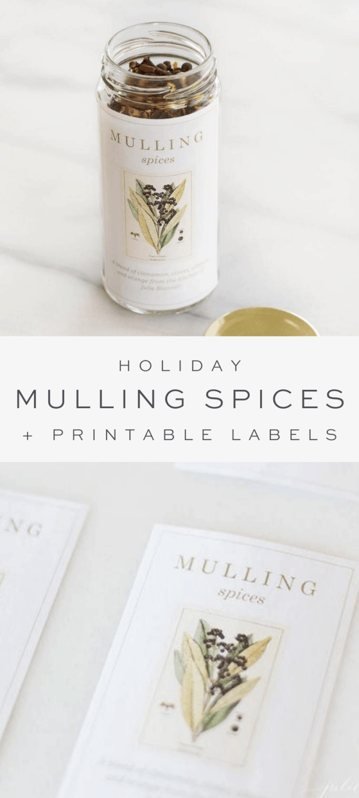 mulling spices in clear jar with homemade label, overlay text, homemade printable mulling spices label