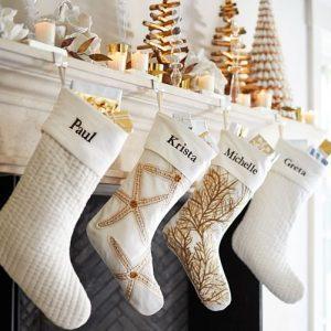 ivory stockings in quilted velvet