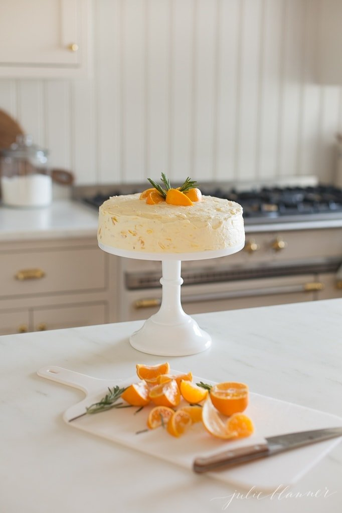 Mandarin Orange Cake on cake stand