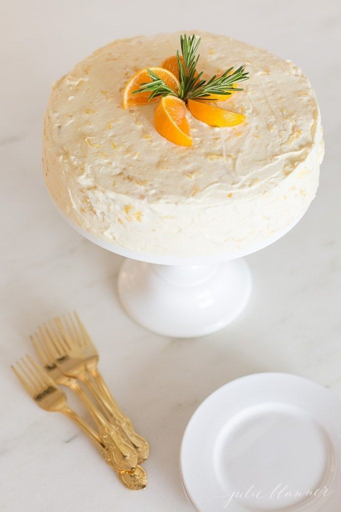 mandarin orange cake with oranges on top