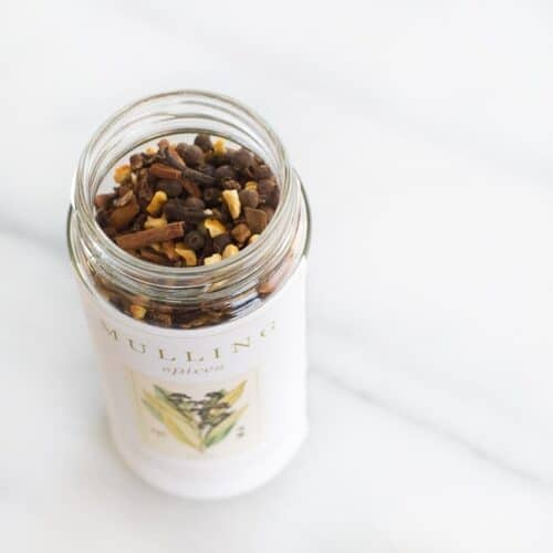 mulling spices in tall spice jar