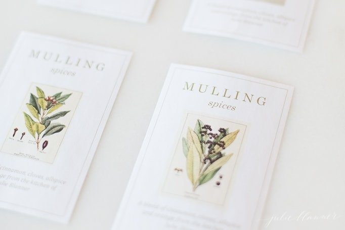 free printable gift labels for mulling spices on a marble surface