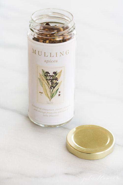 mulling spices recipe in a jar
