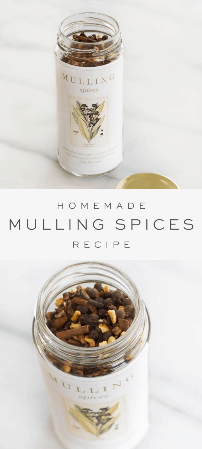 mulling spices in clear spice bottle with homemade label, overlay text, close up of mulling spices