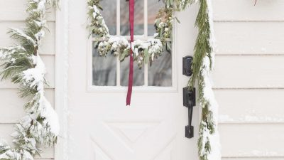 snowy christmas door decorations