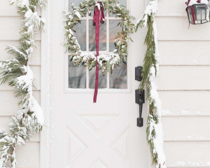 snowy christmas door decorations