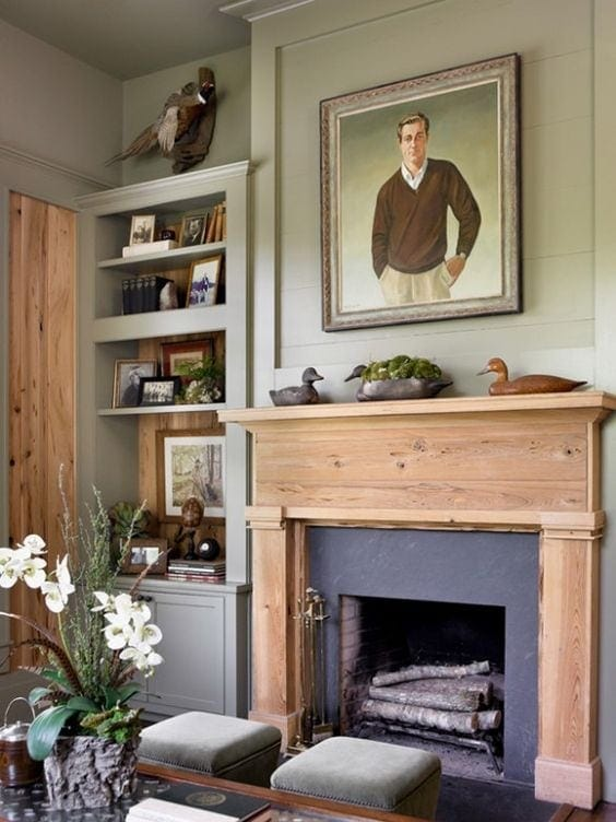 melanie davis design wood mantel for gentleman's house