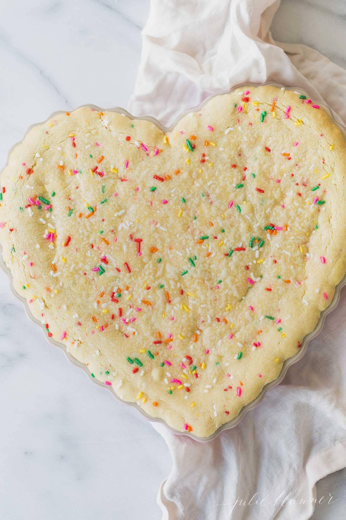 heat shaped funfetti cookie cake
