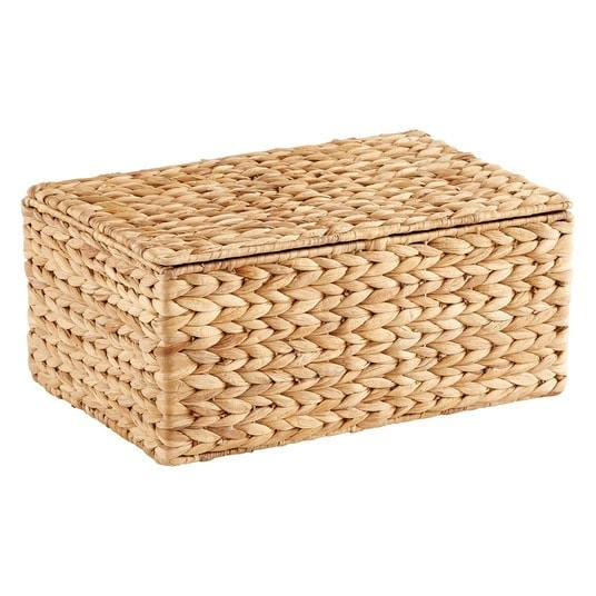 hyacinth lidded basket storage