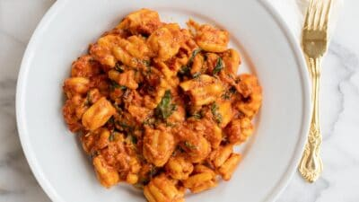A white plate filled with pasta in a spicy pomodoro sauce, gold fork to the side.