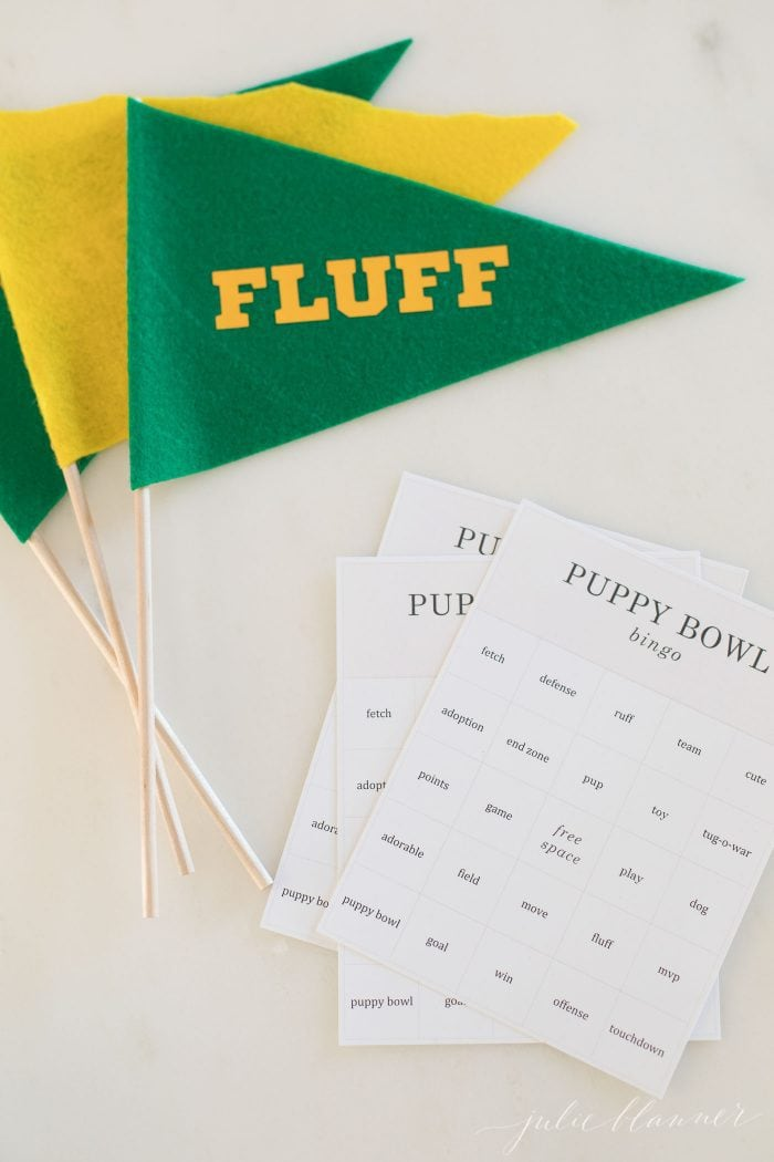 free printable puppy bowl watch party bingo cards