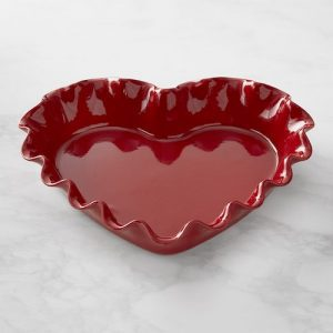 heart shaped pie dish in red