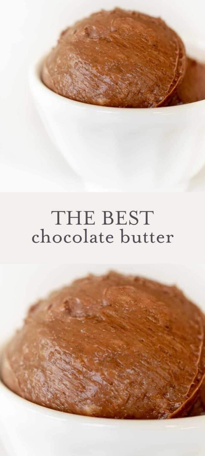 chocolate butter in bowl, overlay text, close up of chocolate butter