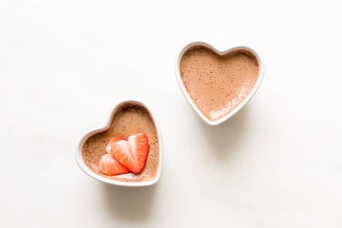chocolate valentines day dessert in heart ramekins