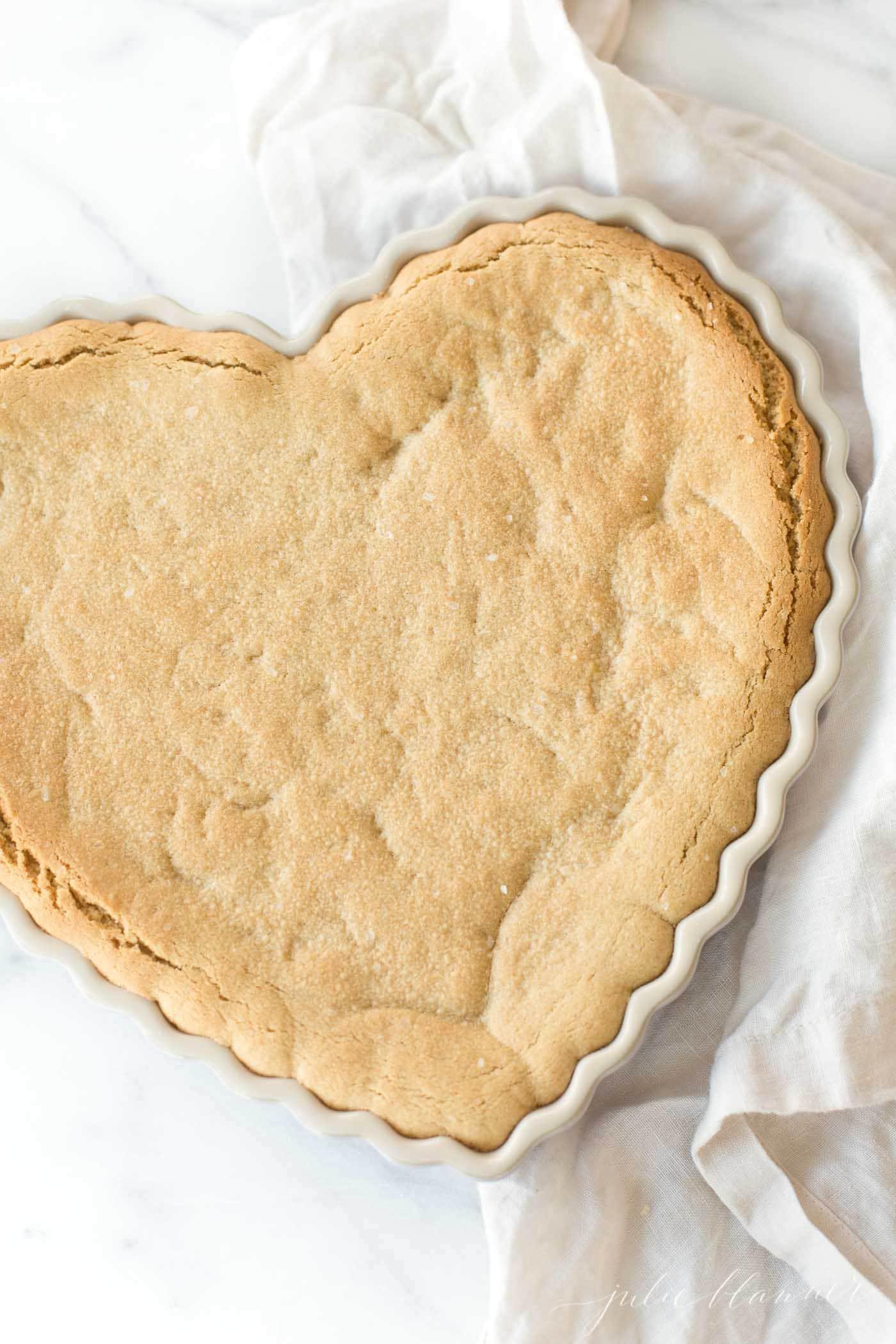 peanut butter cookie cake in tart dish
