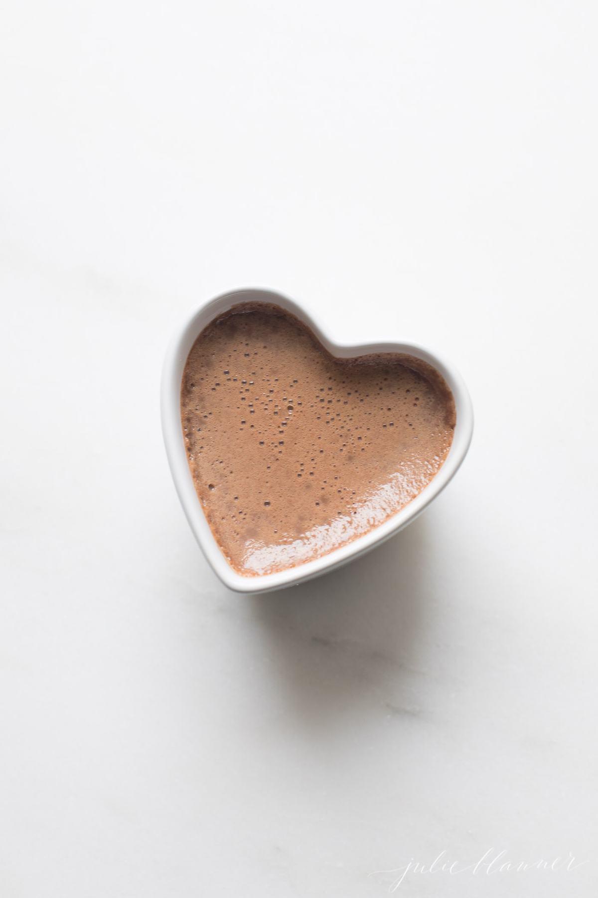 chocolate pot de creme in heart ramekin