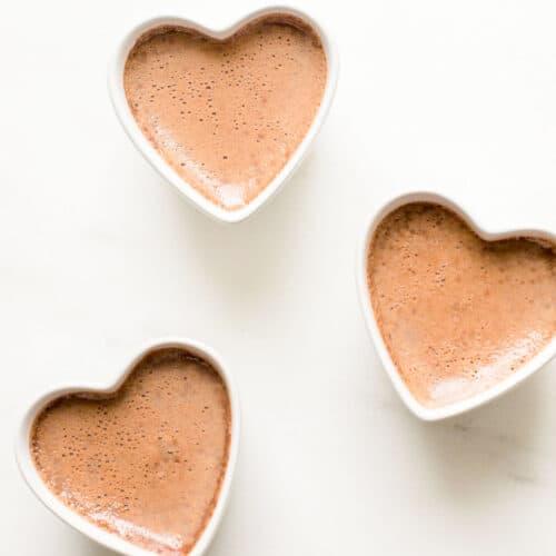 3 pots de crème in heart shaped ramekins