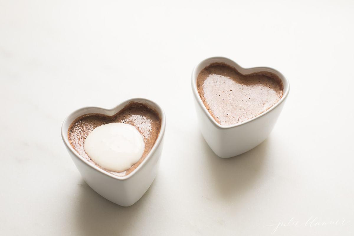 chocolate in heart ramekins