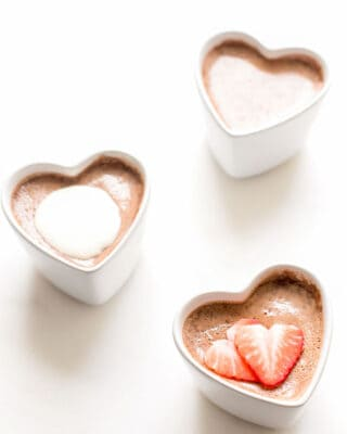 3 chocolate pots de crème in heart shaped ramekins