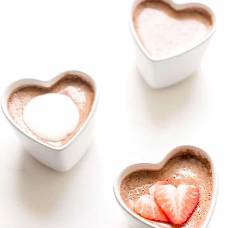 3 chocolate pots de crème in heart shaped ramekins