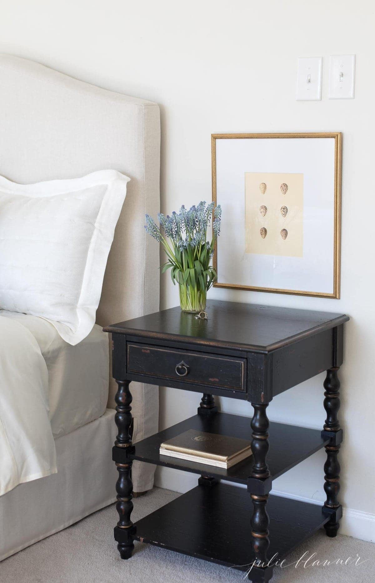 art over nightstand for a simple easter decorations idea