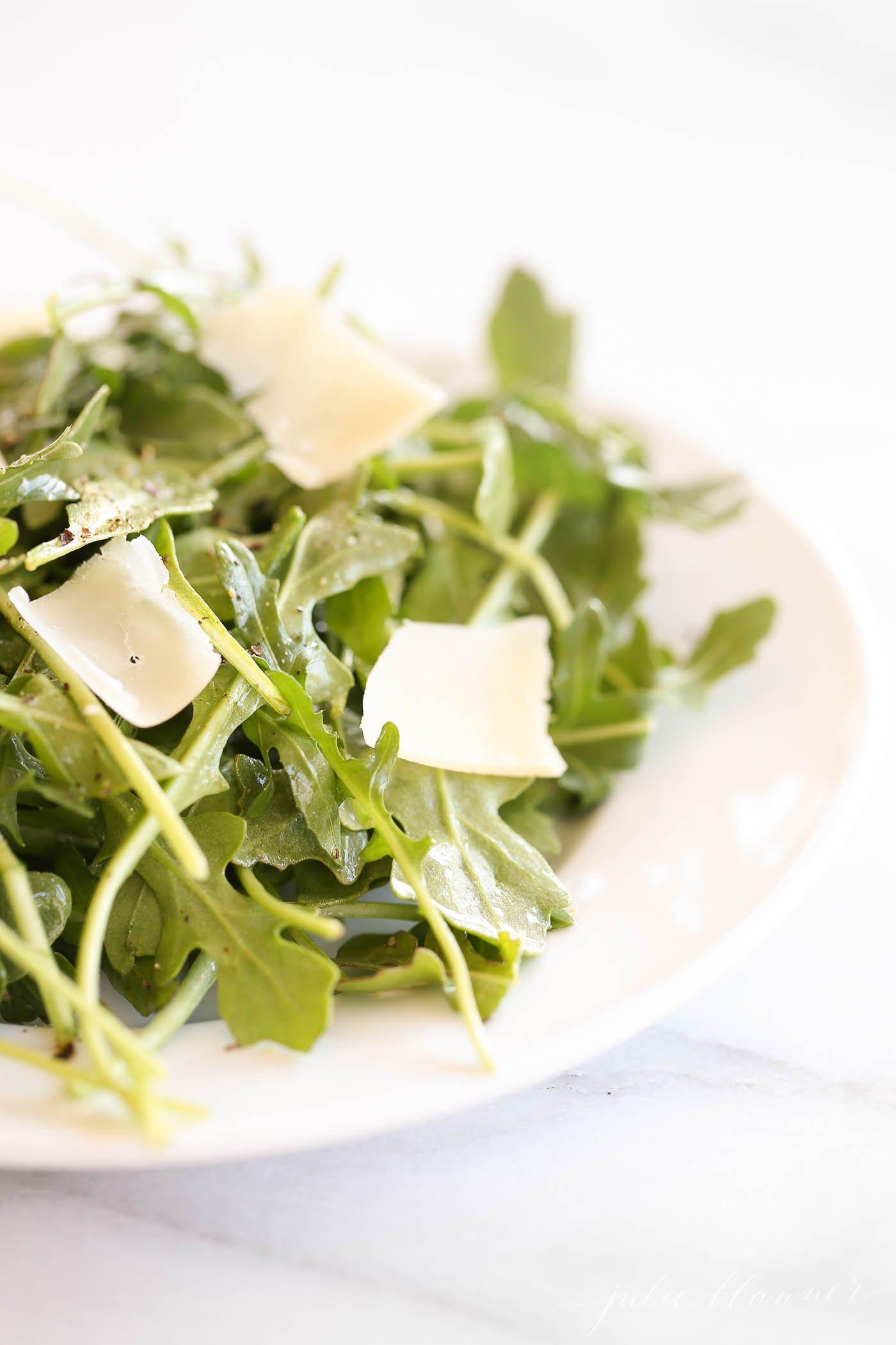 arugula salad with parmesan shavings and vinaigrette