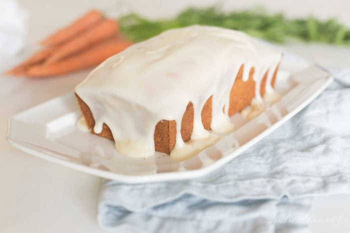 carrot cake with cream cheese icing made in loaf pan