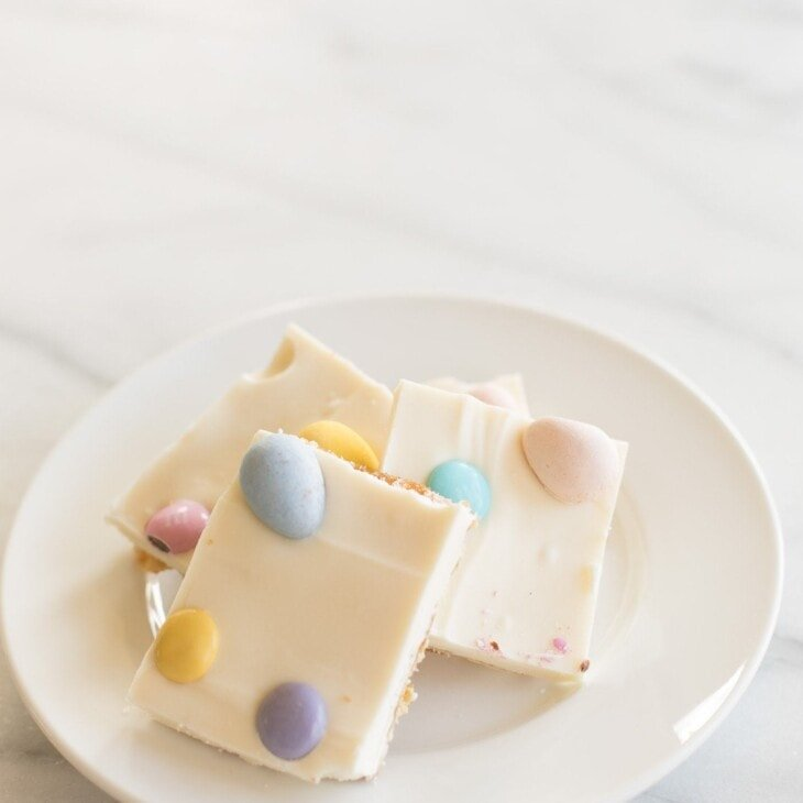 white chocolate toffee with easter candy