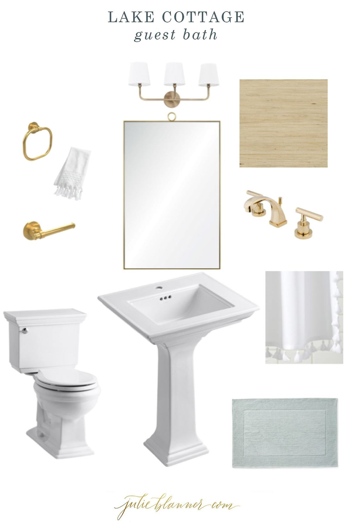 An interior design mood board for a modern bathroom.