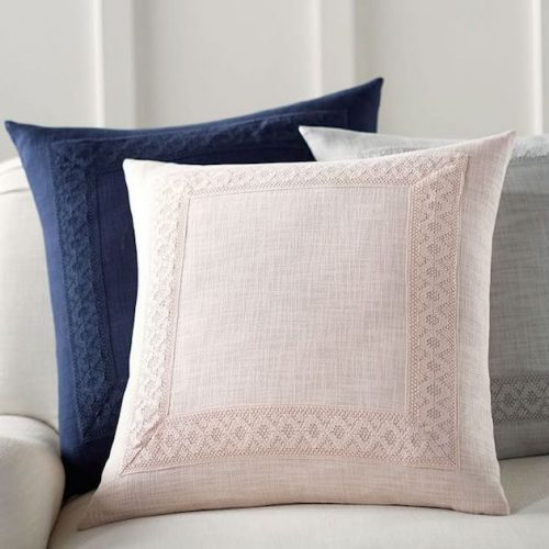 pink pillow cover with border