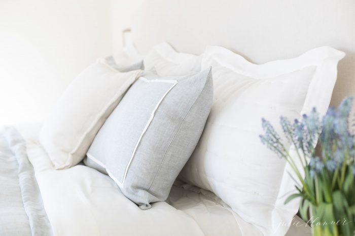 linen shams and bedding