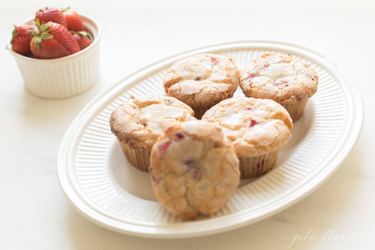 strawberry muffins on a platter