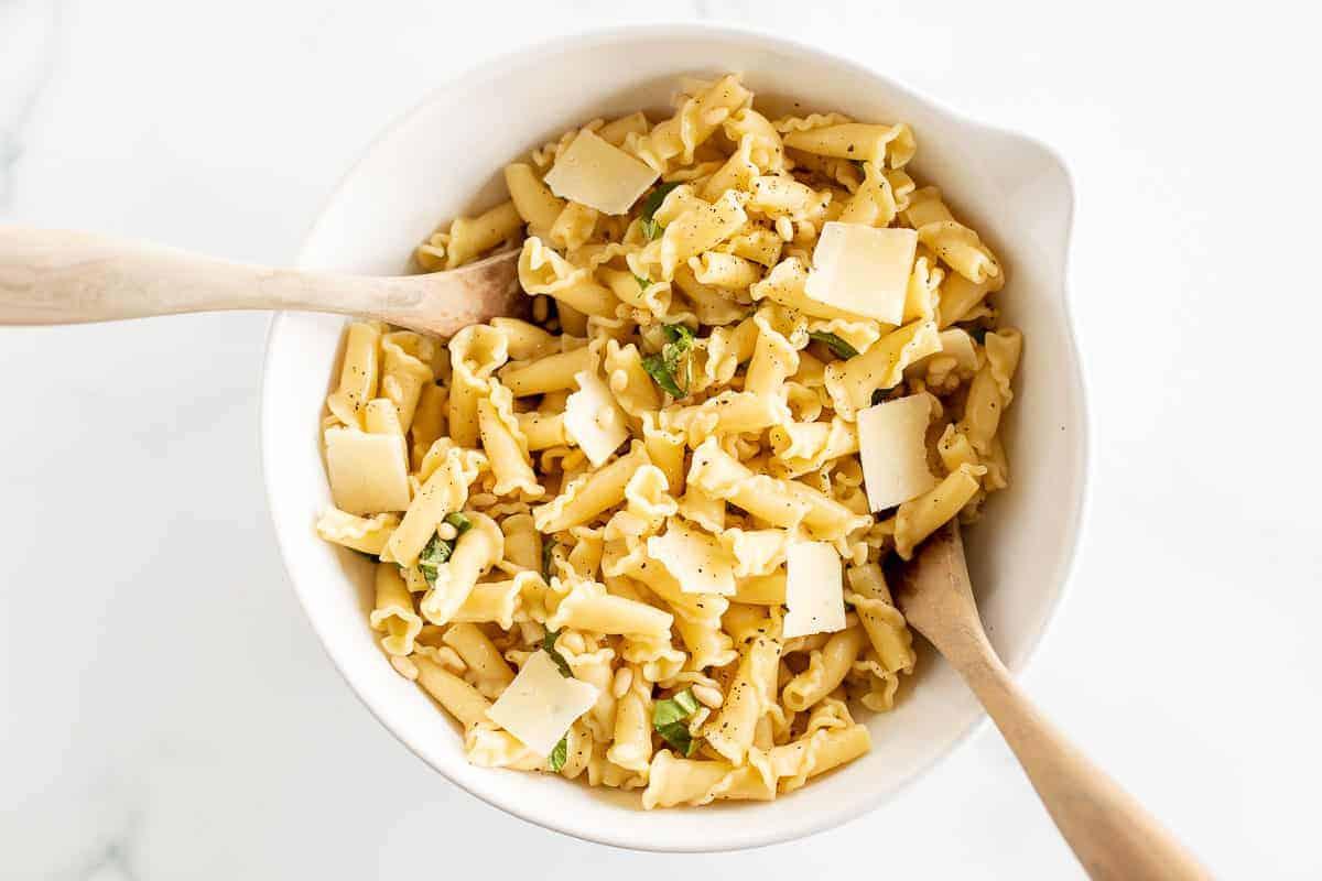 salad tongs in pasta salad