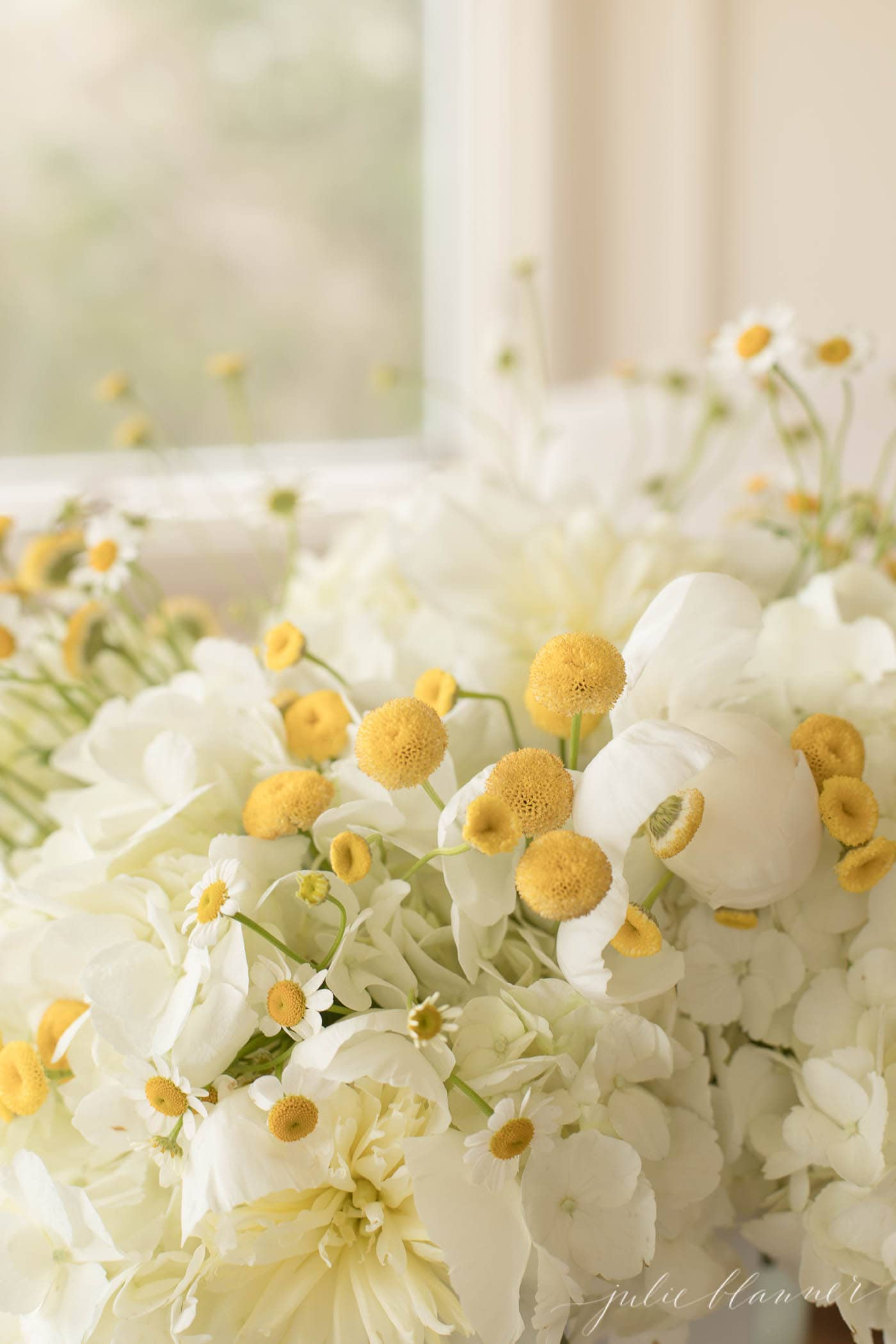 chamomile hydrangea and peonies in yellow and white