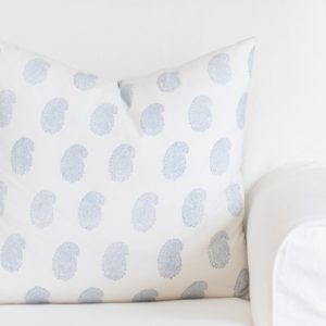 blue and white block print pillow