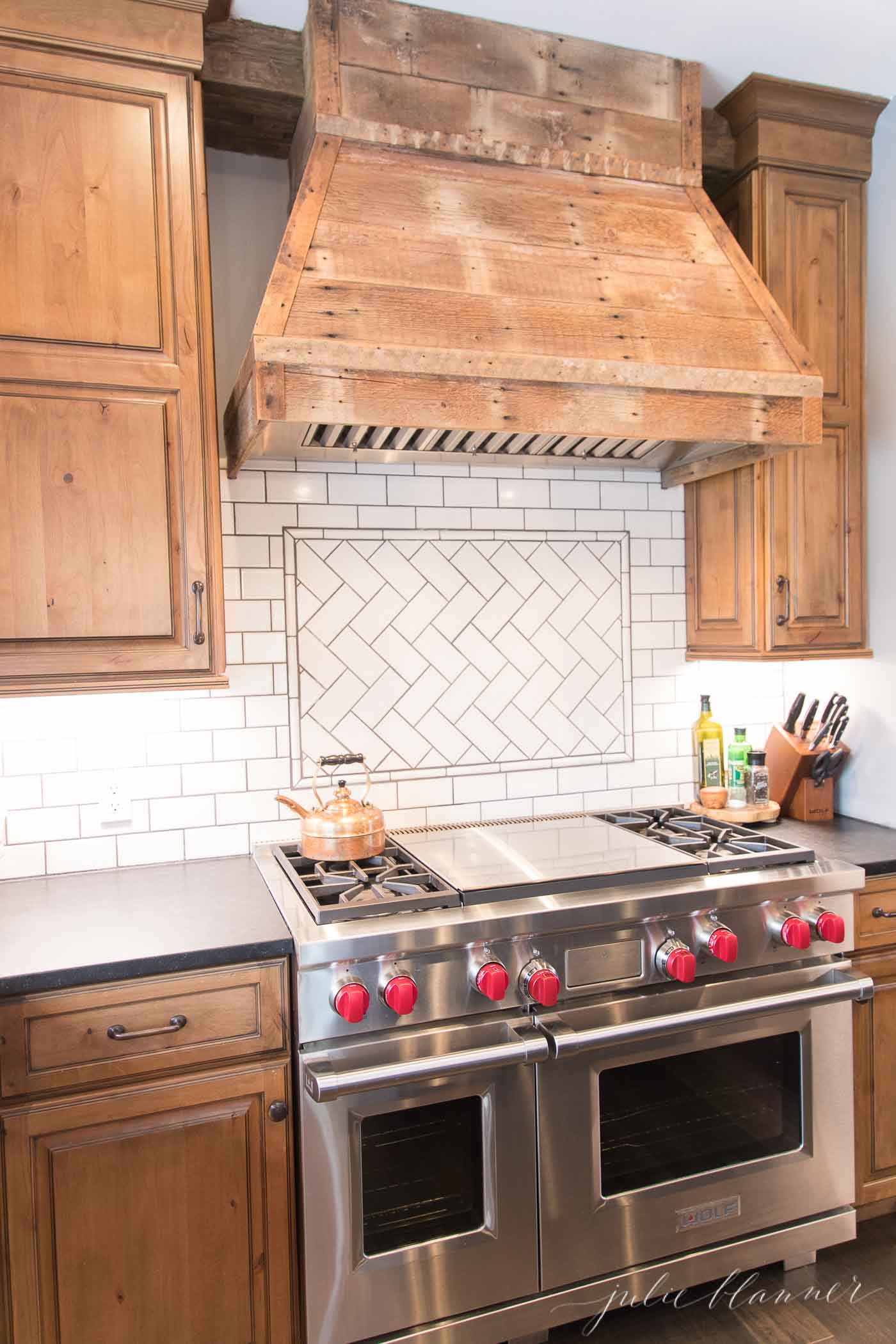 rustic modern kitchen with wolfe range