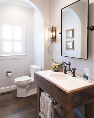 modern bathroom with barn wood sink