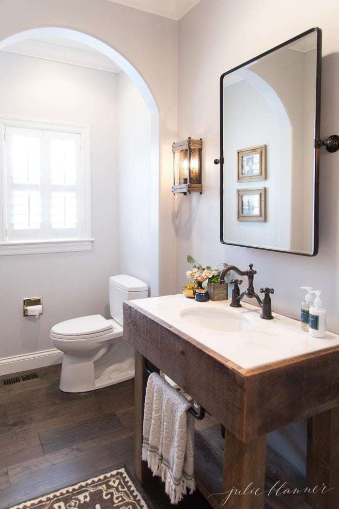 modern bathroom with barn wood sink
