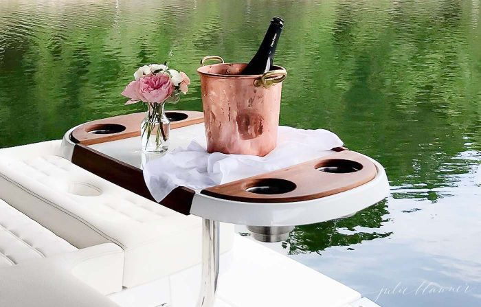 champagne on boat