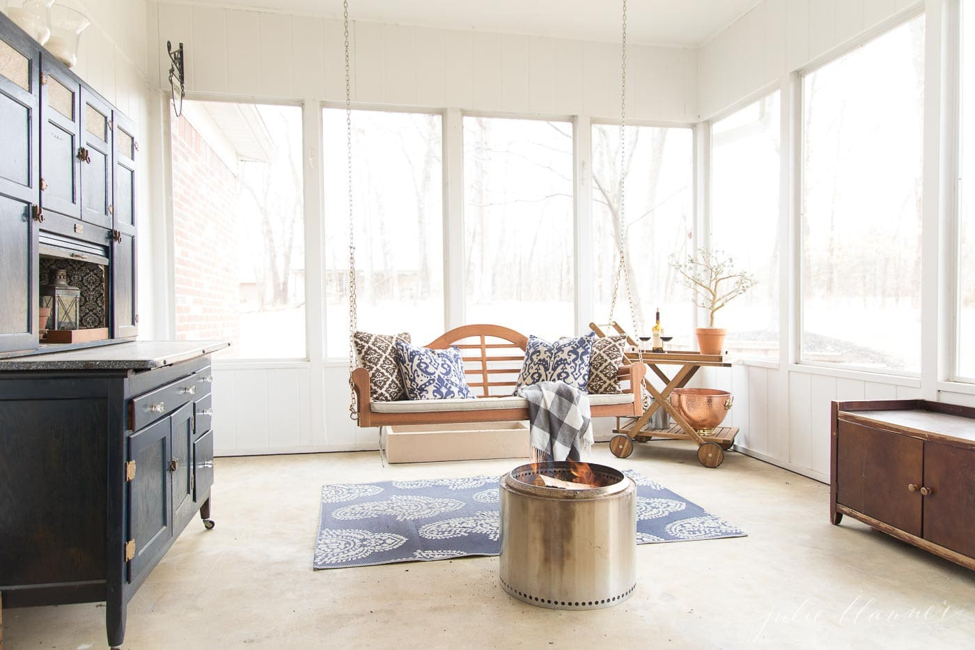 screened in porch in modern colonial house