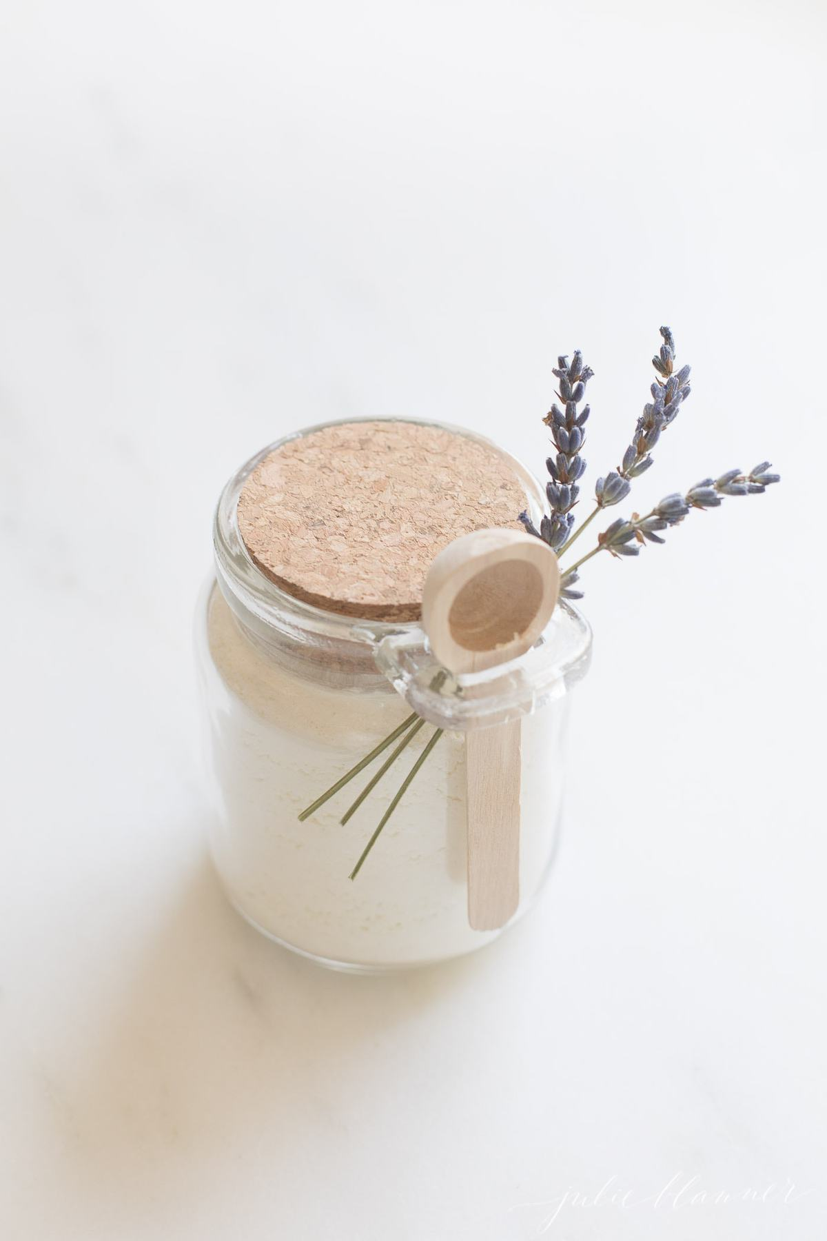 homemade gift in jar garnished with lavender
