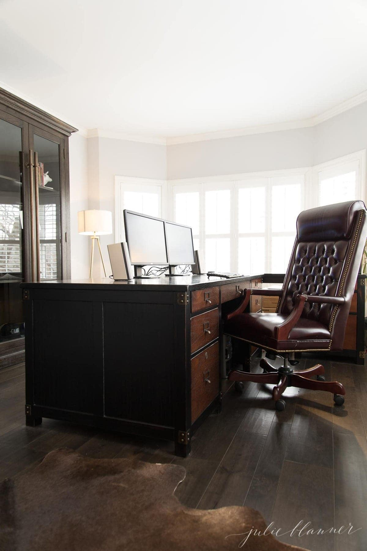 masculine office in a modern colonial house
