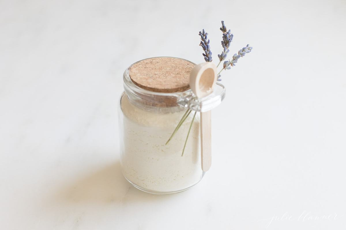 milk bath in jar with spoon