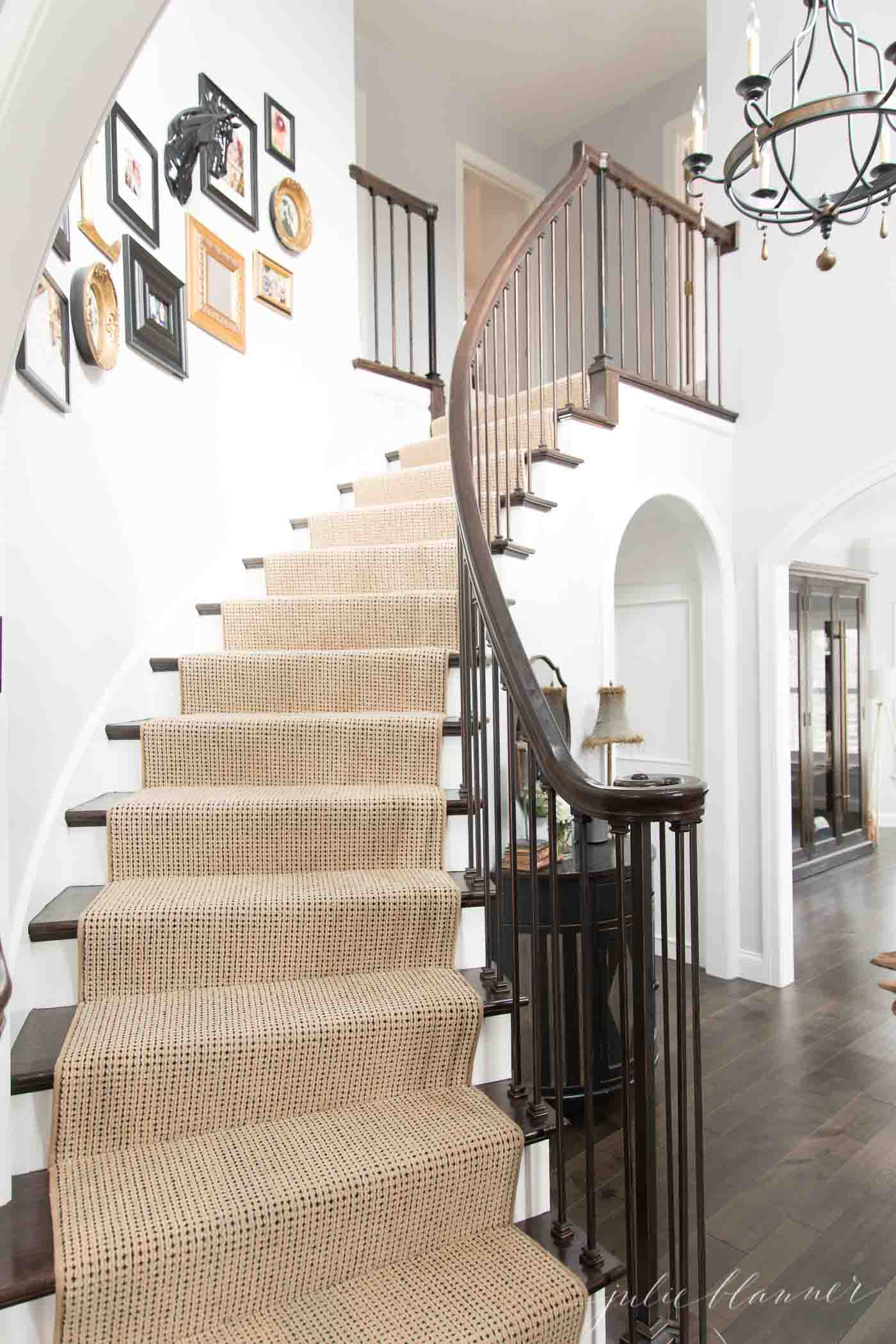 modern colonial stairs with neutral runner