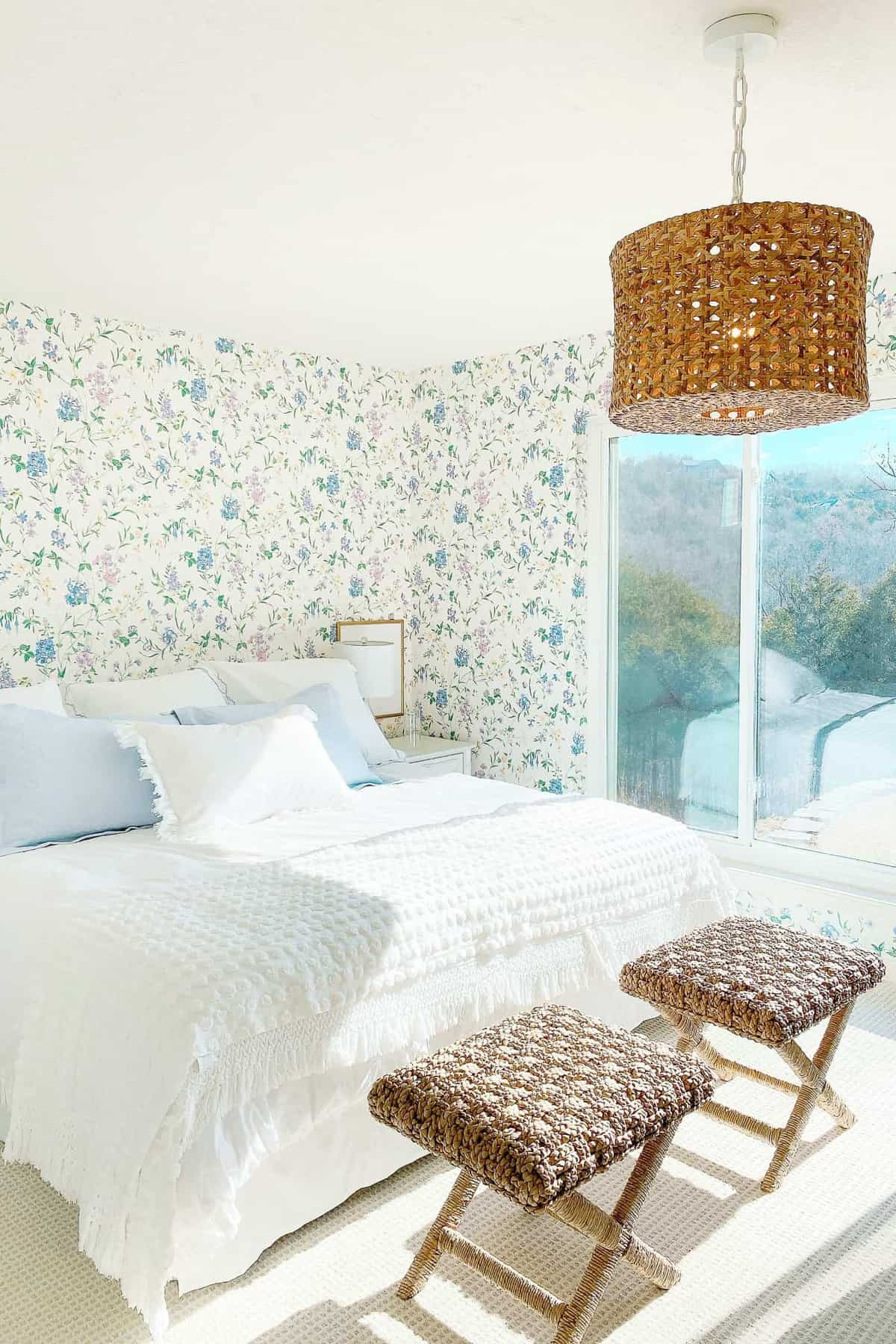 floral bedroom with rattan light