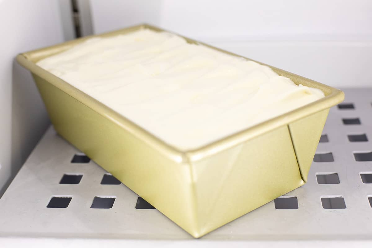 ice cream in loaf pan in freezer